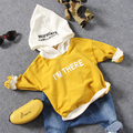 only t shirt 1pc 2-7Y new 2017 spring boys fashion letter long sleeve t-shirt with hood boys spring autumn t shirt kids sweater
