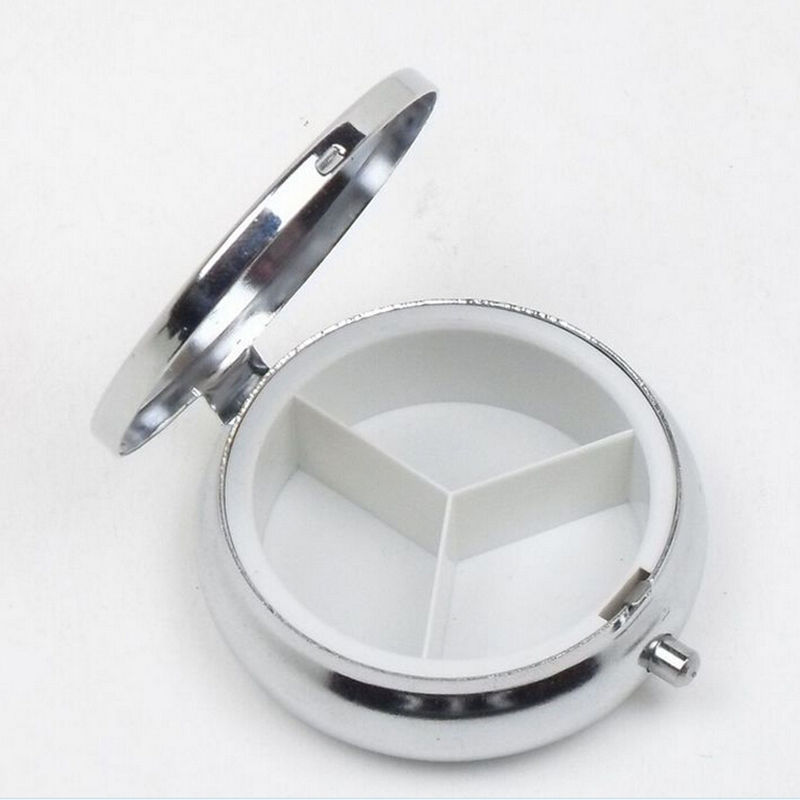 40Pcs Tablet Pill Boxes Metal Round Silver Holder Advantageous Fascinating Decorative Pill Boxes
