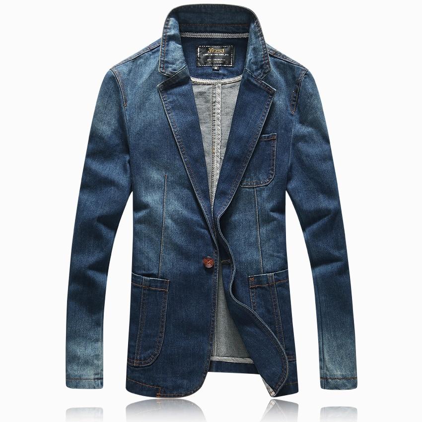 Hot 2016 spring autumn casual Blazer men tidal current male slim fit denim suit single button jean jacket coat light blue 4XL