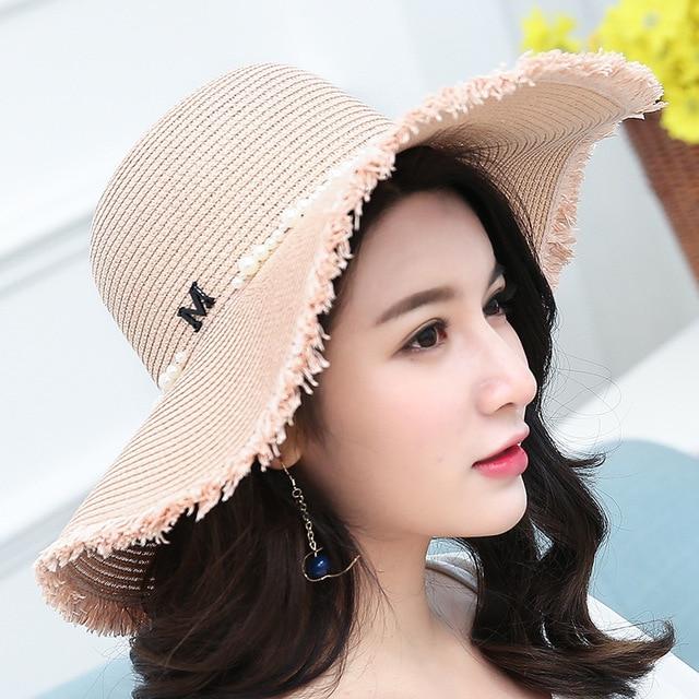 93c49608fb8 Women Summer Large Brim Foldable Sun Hats Handmade Crochet Straw Beach Hat  Sun Protection Hat Female