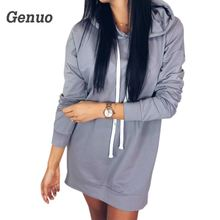 Women Autumn Hoodies Dress Plus Size Casual Long Sleeve Hooded Hoodie Warm Winter Femme Solid Mini Genuo