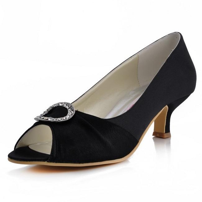 EP31009 Women Pumps Peep Toe Mid Heel Buckle Comfortable