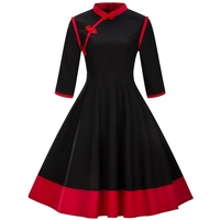 Women Elegant Black Red Patchwork Vintage Dress Lady Feminino Vestidos 3 4 Sleeve Retro 50s 60s