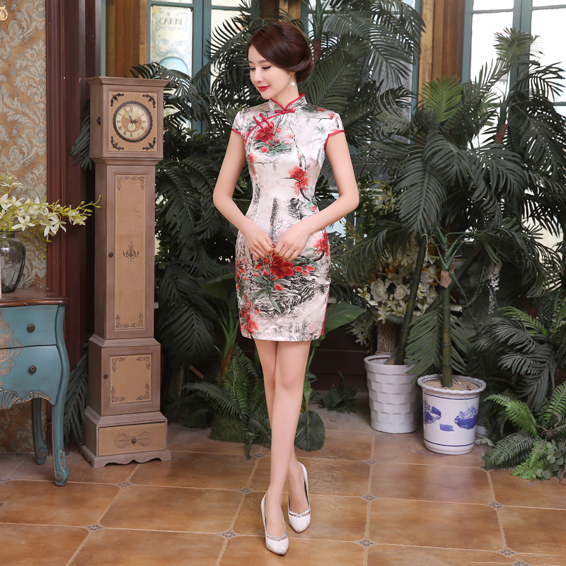 Summer New Chinese Women's Real Silk Qipao Dress Traditional Button Cheongsam Sexy Mini Floral Dress S M L XL XXL Z0040 s xl 2016 new summer