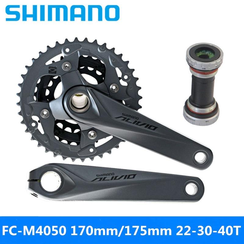 Cycling Bicycle Crank & Chainwheel Generous Shimano Alivio Fc-m4050 Sprocket Wheel 9/27 Speed Mountain Bike Hollow One Sprocket Wheel 170mm/175mm 22-30-40t Gear Original Less Expensive