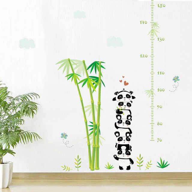 % Симпатичные панды бамбук роста Ch Книги по искусству декоративные настенные наклейки для детей Детская комната украшения ПВХ высота мера DIY росписи книги по искусству дека
