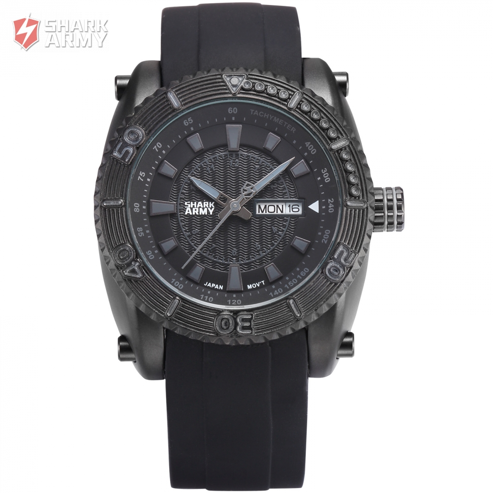 Shark Army relogio masculino Military Full Steel Case Auto Date Display Black Rubber Wristwatch Sports Quartz Men Watches/SAW162 voodoo ii shark army auto date black silicone strap military wristwatch sports clock men military quartz wrist watches saw177
