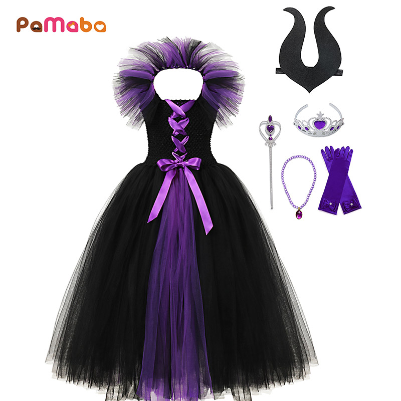 PaMaBa Maleficent Evil Black Queen Tutu Dress For Children Kid Role Play Magic Tulle Costume Girls Halloween Cosplay Witch Gowns