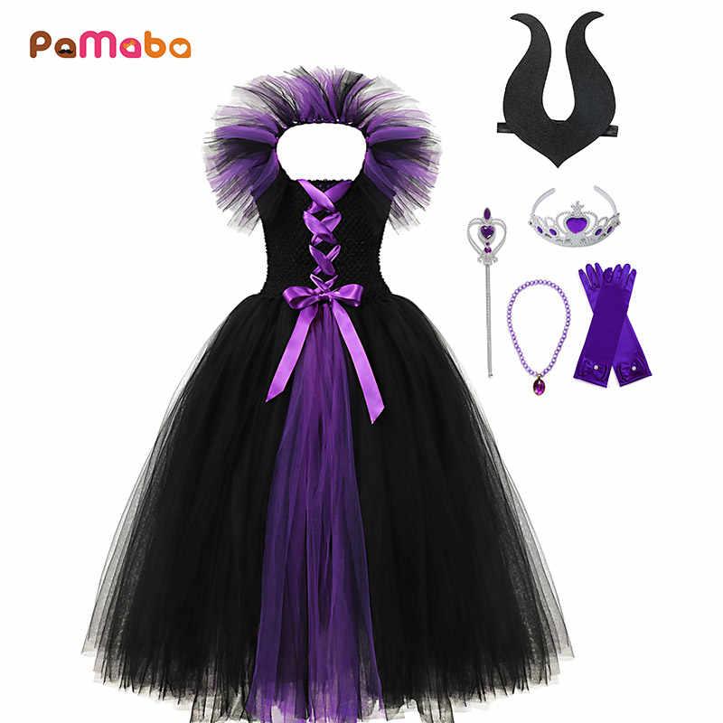 Pamaba Maleficent Evil Black Queen Tutu Dress For Children