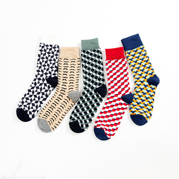 Jhouson 1 Pair Colorful Funny Colorful Men's Combed Cotton Crew Socks Moustache Geometric Pattern Novelty Socks For Wedding Gift 1
