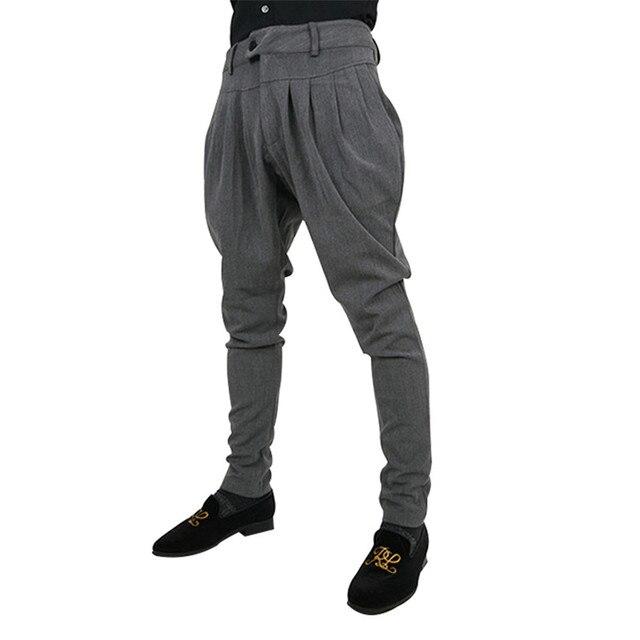 New Brand Men Harem Pants Male Solid Casual Men Trousers Drop Crotch