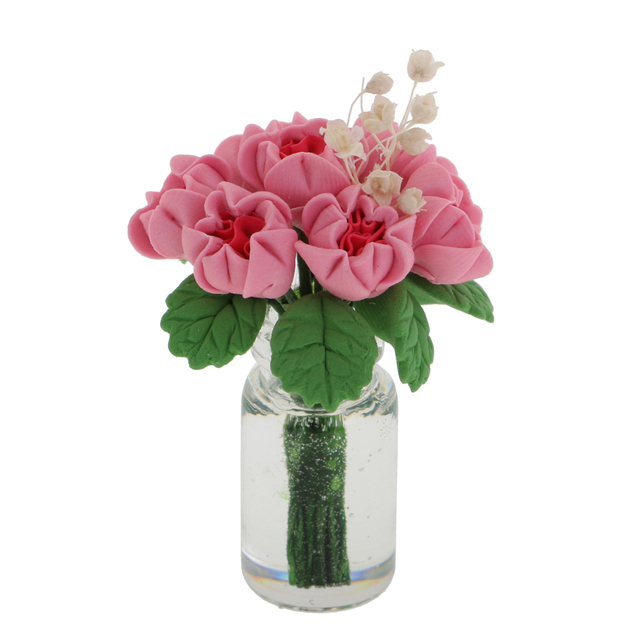 Aliexpress Buy 112 Scale Dollhouse Miniature Flower In Vase