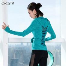 New women running sport coat jacket hoodie fitness run Hoodie Zip shirt jacket Long sleeve T-shirt with cap