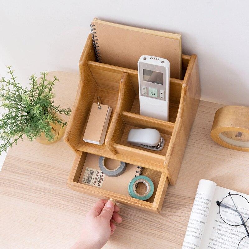 Bambou bureau télécommande boîtes de rangement sur la table boîte à mouchoirs salon table basse cosmétiques papeterie supports - 3