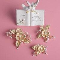 3pcs Set Pearl Wedding Barrette Gold Hair Accessories Wedding Hair Clip Bridal Jewelry Clear Rhinestone For
