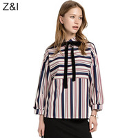 Womens New Fashion Striped Loose Blouse With Bow Female Casual Long Sleeve Drop Shoulder Cotton Shirts