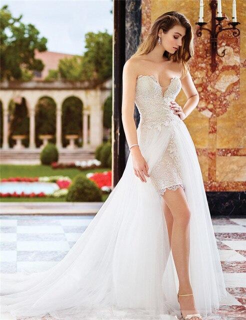 Plus Size Bridal Gown Vintage Lace High Low Wedding Dresses Short ...