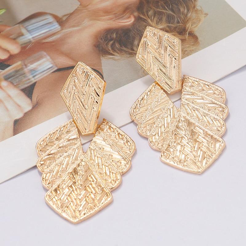 AENSOA Leaf Alloy Big Dangle Earrings For Women Girl 2019 Vintage Punk Gold Color Drop Earrings Large Metal Statement Jewelry