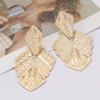 pair of stylish faux turquoise leaf alloy drop earrings for women AENSOA Leaf Alloy Big Dangle Earrings For Women Girl 2019 Vintage Punk Gold Color Drop Earrings Large Metal Statement Jewelry