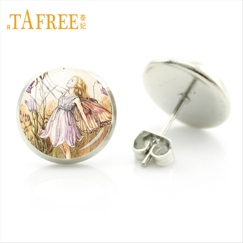 TAFREE Vintage Butterfly Wings Fairy Earrings Little Girl Painting Picture Stud Earring Round Glass Dome Ear Jewlery FQ371