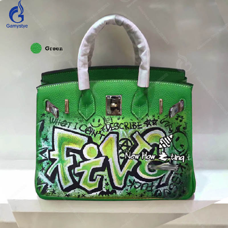Gamystye Top-Handle Bags Hand Painted Graffiti Green Letter Messenger Bag Women Cow Leather Gold Hardware Handbags Casual Tote Y women top handle bags yellow real genuine leather hand bags hand painted graffiti totes with hardware sac a main messenger bag y