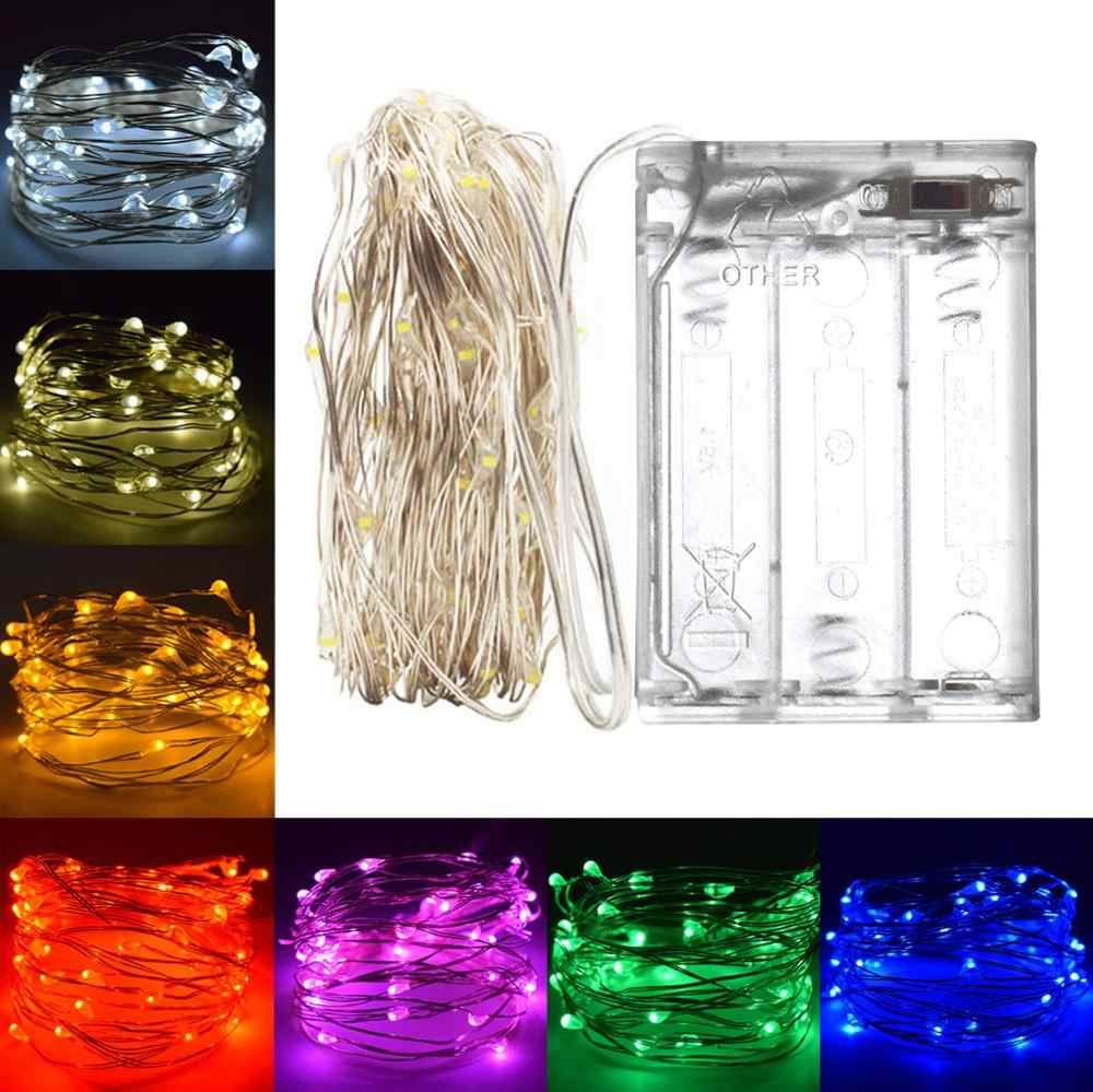LED String lights 10M 5M 3M 2M Silver Wire Fairy light Garland Home Christmas Wedding Party Decoration Powered by AA Battery