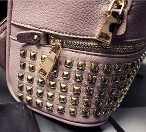 Image 5 - Women PU Leather waterproof mini travel Backpack for Girl School hand Bag High Quality Ladies small Bag Designer evening Bolsas