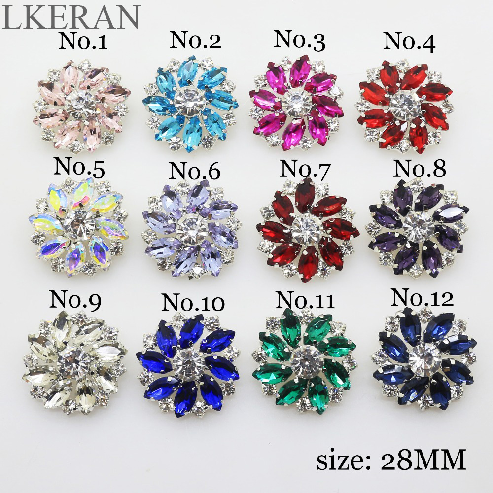 5pcs Flower Crystal Sewing Shank Buttons for Garment Accessories DIY Decor