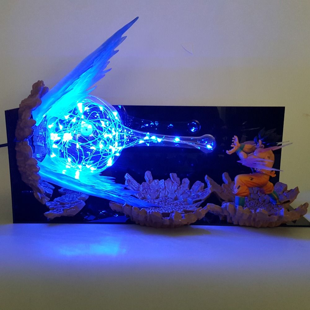 Dragon Ball Z Goku Kamehameha Lampe Led Explosion Scène BRICOLAGE Veilleuses Dragon Ball Super Goku Lampe De Table pour noël
