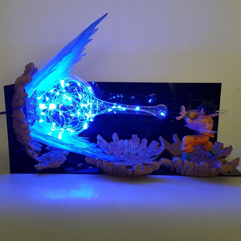 Dragon Ball Z Son Goku Kamehameha Lampada Led Esplosione Scena FAI DA TE Luci notturne Dragon Ball Super Goku Lampada Da Tavolo Per il natale