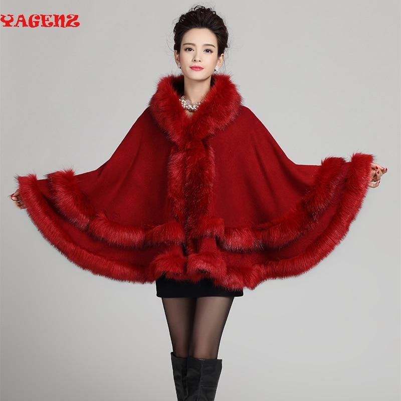 2019 Fashion Long Wool Cashmere Faux Fox Fur Cape Coat Cardigan Women Poncho Knitted Sweater Women Faux Fox Fur Womens Cardigans
