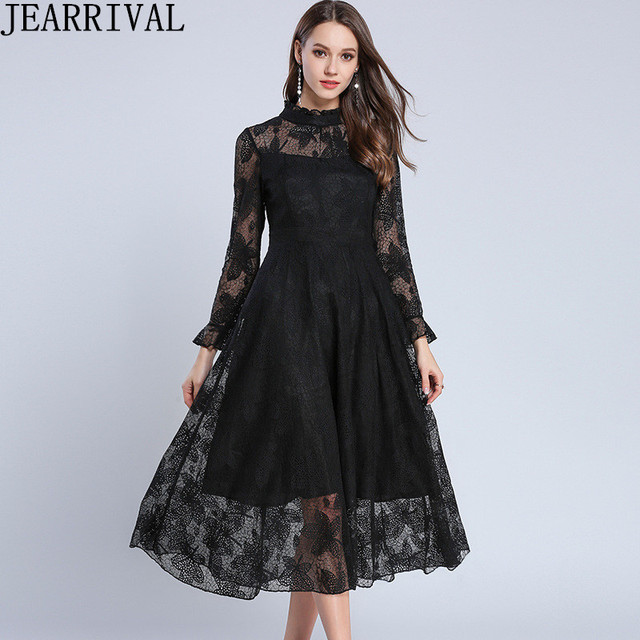 Fashion Women Black Lace Dress 2018 New Arrival Flare Sleeve Stand Collar  Hollow Out Vintage Elegant Midi Dress Party Vestidos 37365f6035