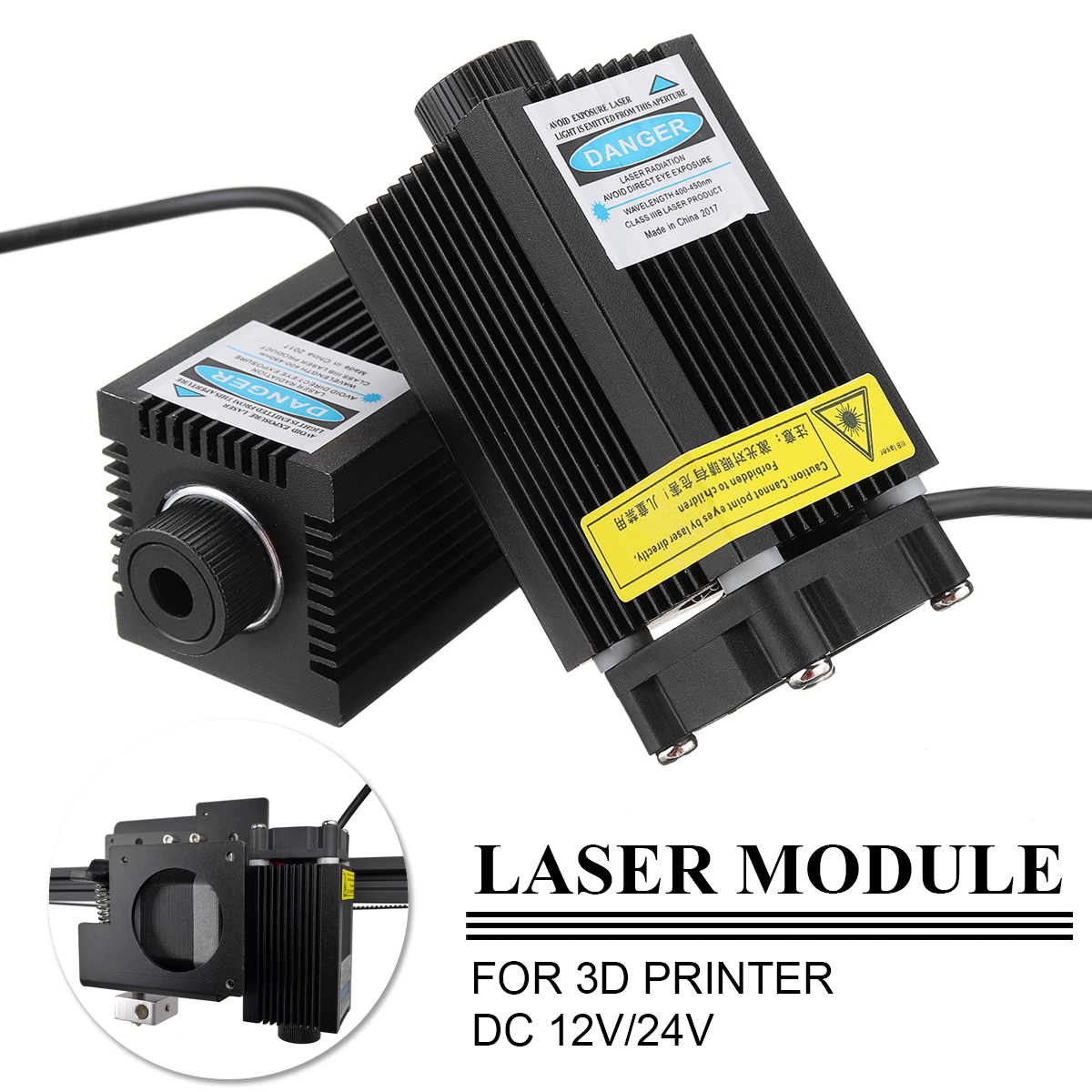 1Pcs 12V /24V 500mw 405NM 3D printer laser module laser engraving TTL module 500mw laser tube Laser module diode sun god totem beach throw