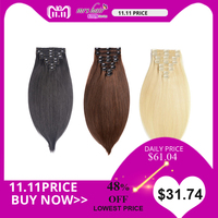 MRS HAIR Clip In Human Hair Extensions Straight 8pcs Set Machine Made Remy Brazilian Hair Clips Full Head 14 16 18 20 22