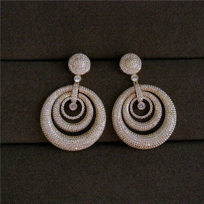 Модные AAA фианит Классическая Ретро стиль выдолбленные концентрическими круглые большие серьги, accessaries женщин, E9784