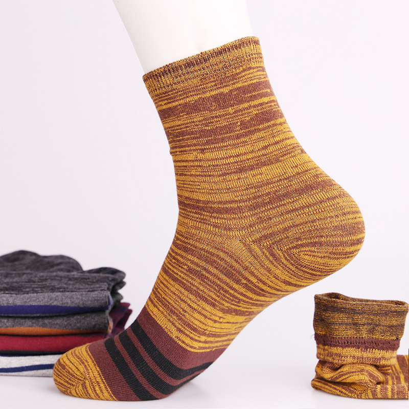 PEONFLY Breathable stripes Autumn Winter Man Full Cotton Ventilation Male happy funny novelty Socks men colorful 5PAIRSLOT