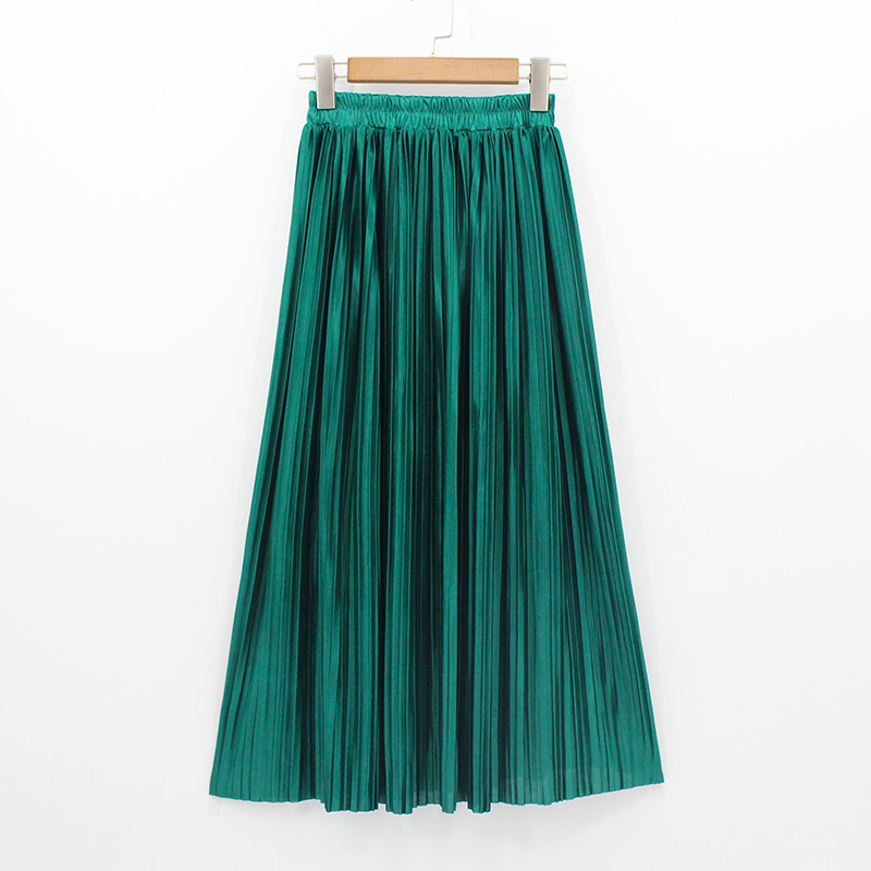 2018 New Women Fashion Long Skirts High Waist Pleated Maxi Skirt Bling Metallic Silk Tutu Skirt