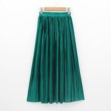2018 חדש נשים אופנה ארוך חצאיות גבוהה מותן קפלים מקסי חצאית בלינג מתכתי משי טוטו חצאית
