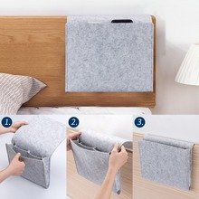 ANHO Storage Organizer Felt Bedside Hanging Storage Bags Mobile Phone Remote Control Sundries Book with 2 Inner Pockets for Bed