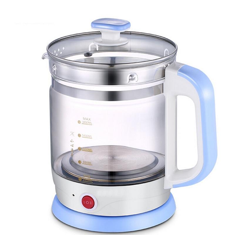 все цены на VOSOCO Electric kettle Quick Heating 800W 1.8L Prevent dry burning Multi function high boron silicon glass Health preserving pot онлайн