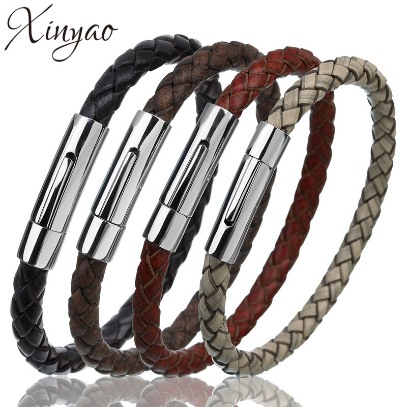 XINYAO Steampunk 100% Genuine Braided Leather Bracelets Stainless Steel Snap Clasp Male Bracelet Bangles For Mens Women F5575