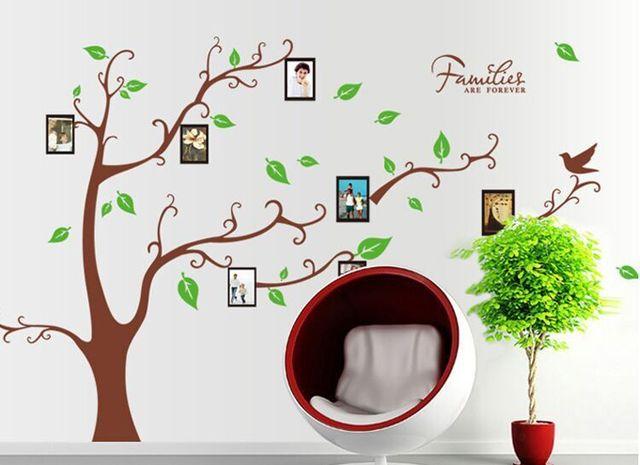 WANDAUFKLEBER Sofas Bewegen Die Hintergrundwand Von Drei Generationen  Fotorahmen Baum Palmblatt Dekorative Aufkleber Aufkleber