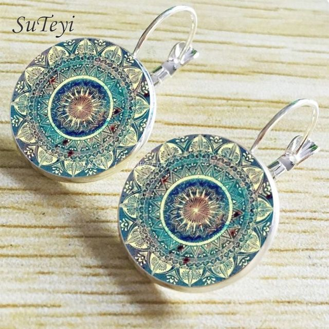 SUTEYI Charm Henna Yoga Amulet Ladies Round Earrings Glass Cabochon Earings Jewelry Mandala Symbol Bohemia Earrings For Women