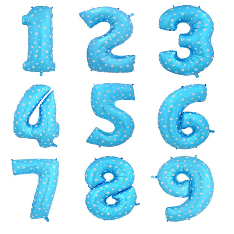 40 inch number foil balloons large pink blue Air digit printed heart balloon birthday wedding decoration ballon party supplies