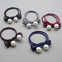 1pcs New hot selling Ponytail Holder Girl Exquisite Hair ties Simple Charm Stretchy Bowknot Pearl Women Handmade Rope