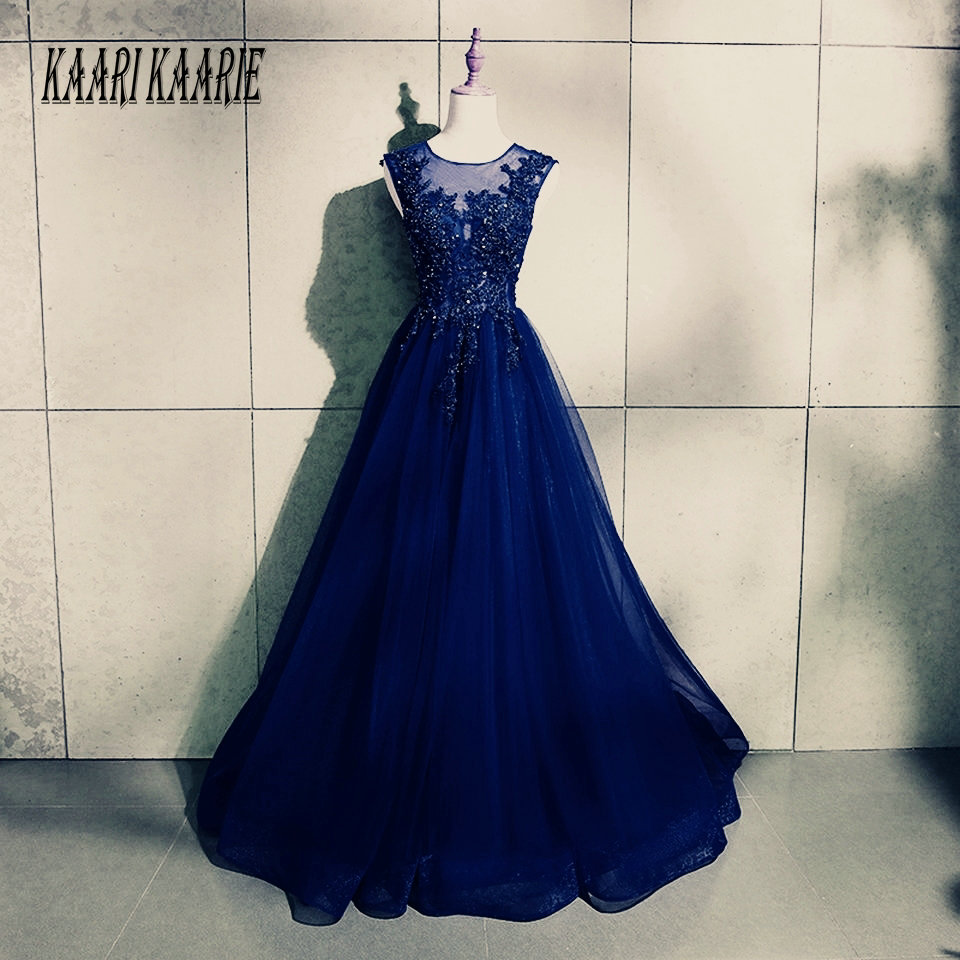 Formal Dark Navy Long   Evening     Dresses   2019   Evening   Gowns O Neck Tulle Appliques Beading Lace Up A-Line Women Party   Dress   Prom