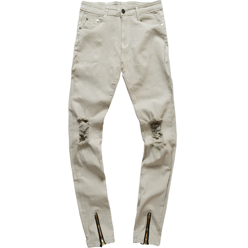 H.A. Sueno 2018 new fashion mens jeans with zippers Distressed denim pants for men slim fit pencil pants drop shipping support