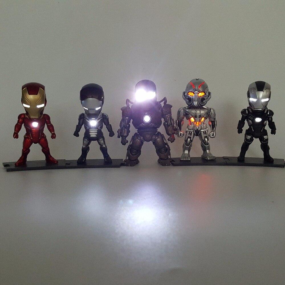 Iron Man Action Figure MK43 Ironman PVC 90mm Collectible Model Toy Anime Iron Man Mark Superhero Led Lighting