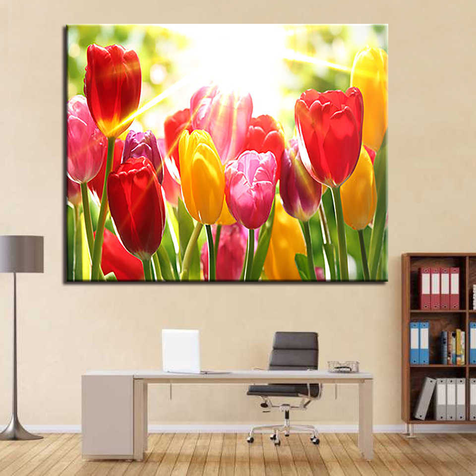 Sunshine Tulip DIY Painting By Numbers Kits Drawing Oil Flower Pictures Acrylic Hand Paint On Canvas Modern Home Decor Wall