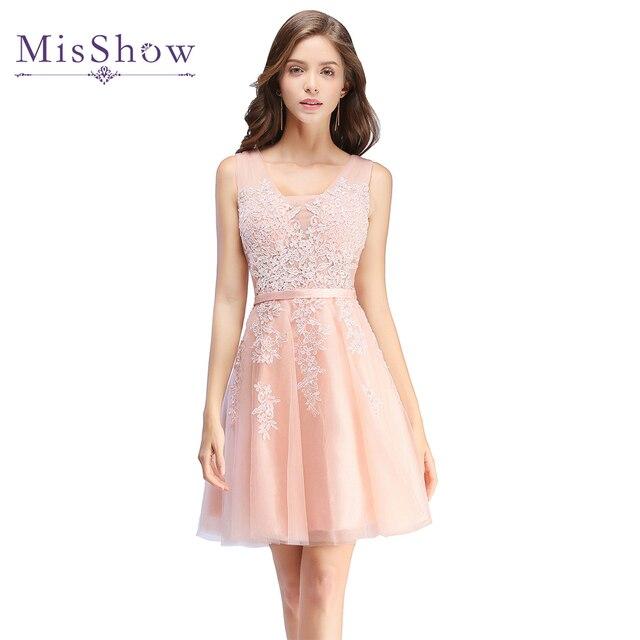 Vestidos De Festa 2017 sexy Rosa abendkleid Short abend-abschlussball-kleider  Spitze tüll Kleid f491d14547